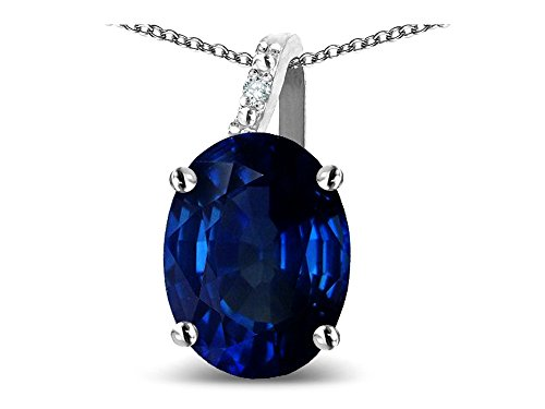 (Star K Oval 8x6 Created Sapphire Journey Pendant Necklace 10 kt White Gold)
