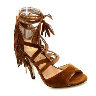 Chloe zip sandals Chase closure bondage toe Edward high 48 Tan heel stripes suede Womens up lace peep amp; PxqAwa5