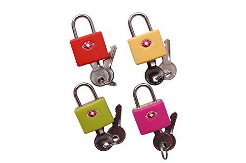 4 x TSA Vorhängeschloss Kofferschloss mit Schlüssel in 4 Farben
