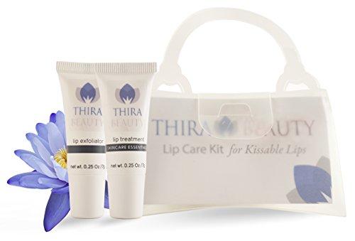 2 pc Lip Exfoliator & Lip Treatment Lip Care Kit for Kissable Lips by Thira Beauty - Buffs Away Dry, Flaky Lips & Moisturizes w/ Oligopeptides, Avocado Oil & Vitamins-Made in the USA