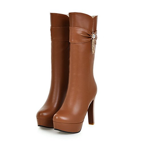 AgooLar Toe Brown High Heels Women's Solid Round Zipper PU Boots rwtSfHrqnC