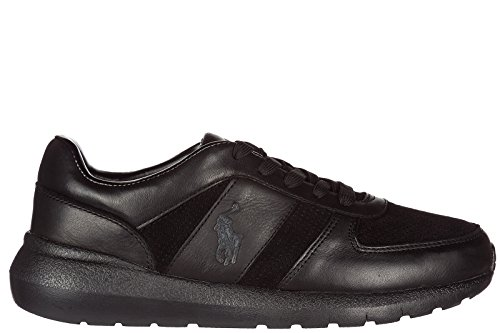 Ralph Lauren Men's Shoes Leather Trainers Sneakers Black cost cheap price cheap sale 2014 new new arrival cheap price IxDiI6K39