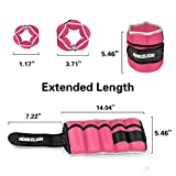 Henkelion 1 Pair 10Lbs Adjustable Ankle Weights for Women Men Kids, Wrist Weights Ankle Weights Sets for Gym, Fitness Workout, Running, Lifting Exercise Leg Weights - Each 5 Lbs Pink