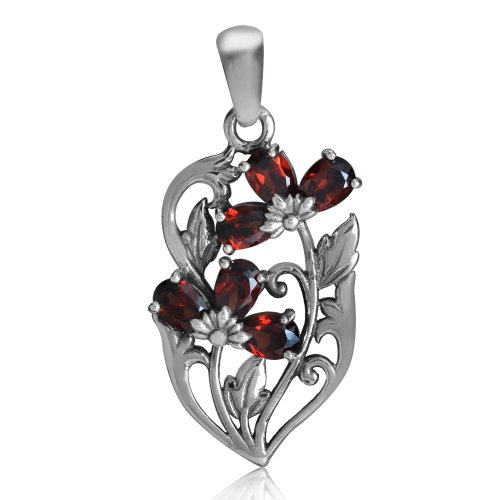 (1.68ct. Natural Garnet 925 Sterling Silver Flower & Leaf Pendant)