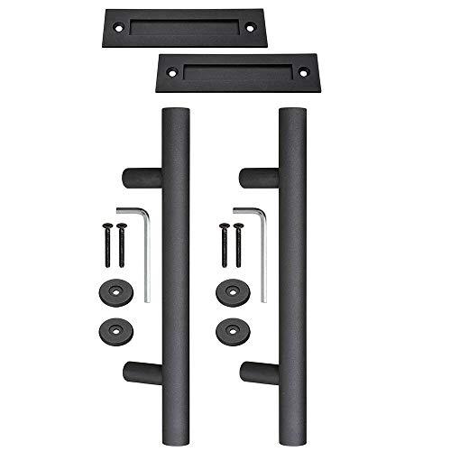 2 Pcs 12″ Matte Black Sliding Barn Door Pull Cast Iron Hardware Flush Handle Set #AS01