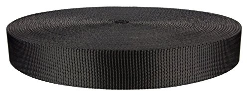 1 1/4 Inch Black Heavy Nylon Webbing Closeout, 10 Yards