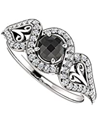 Black Onyx and CZ Cross Over Halo Ring 0.75 CT TGW