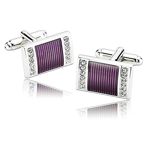 Daesar Men's Stainless Steel Cuff Links Silver Purple Rectangle Brushed Finish Two Row of Cubic
