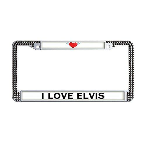 Nuoyizo I LOVE ELVIS License Plate Frame Heart Auto Car Frame Black Rhinestone Glitter License Plate Cover Handmade Car Tag Holder With Two Chrome Screw Caps