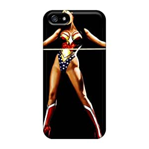 Shock Absorption Hard Phone Cover For Iphone 5/5s With Customized Vivid Wonder Woman Pattern AnnaDubois