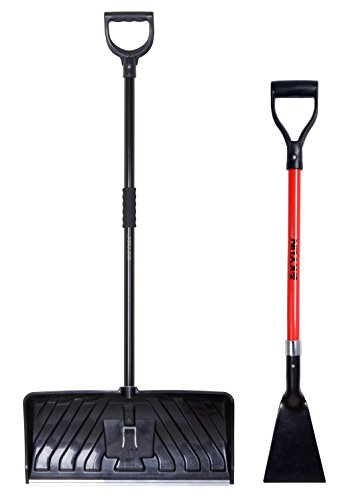 KYLIN Snow Shovel Removal Tools Set- Include 24'' Snow Pusher/7'' Forged Ice Scraper (7' Ice Scraper)