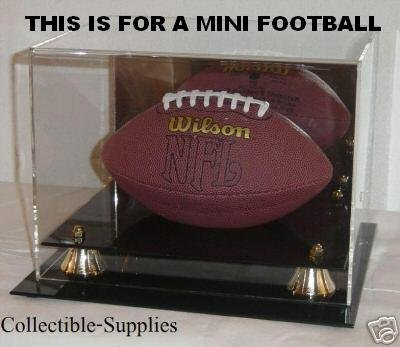 Miniature Football Display - Deluxe Acrylic Mini Football Display Case - With Mirror