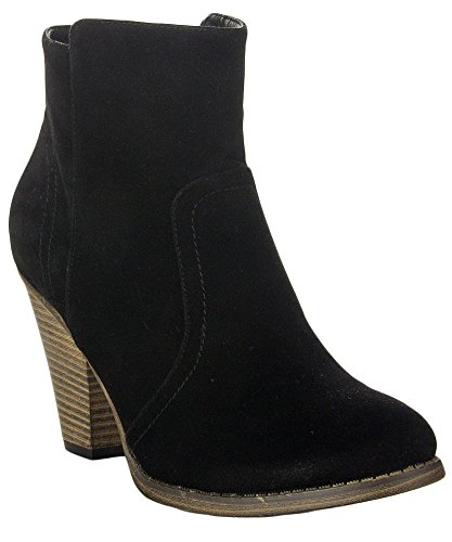 ROF Luxe-01 Women's Fashion Comfy Almond Toe Stacked Block Heel Side Zipper Ankle Booties BLACK SUEDE (7.5)