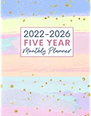 2022-2026 5 Year Monthly Planner: Large 60 Month Calendar Planner. Yearly At A Glance Organizer With To Do List, Goals, Note Pages And Inspirational Quotes For Women - Pink & Blue Stripes