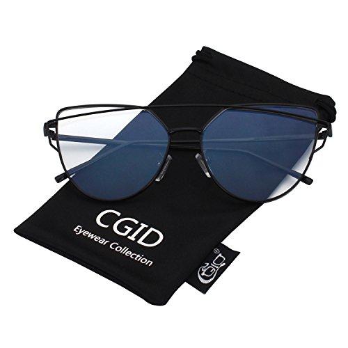 Cgid Fashion Cateye Réfléchissantes Lunettes A14 Polarisées Noir Mj74 Et Uv400 Pour Chat Soleil Transparent Modernes Femmes De Oeil gvqgwS