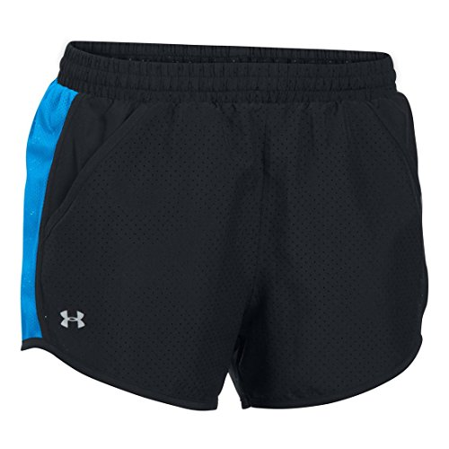 (Women's Under Armour Fly By Perforated Run Short, Black/Water, MD (US 8-10) x One Size)