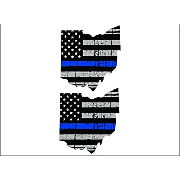 "5/"" Vinyl Vehicle REFLECTIVE Graphic Decal PAIR Thin Blue Line LOUISIANA Flag"