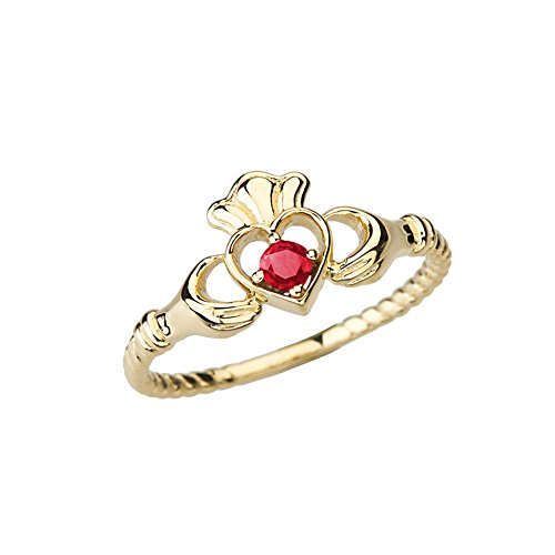 Dainty 14k Yellow Gold Open Heart Solitaire Ruby Rope Claddagh Promise Ring (Size 6)