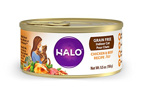 Halo Grain Free Natural Wet Cat Food, Indoor Chicken & Beef Recipe, 5.5-Ounce Can (Pack Of 12)