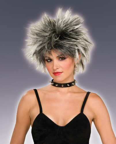 Costume Punk 80s (80s Spiked Punk Wig (Champagne /Black) Adult Halloween Costume)