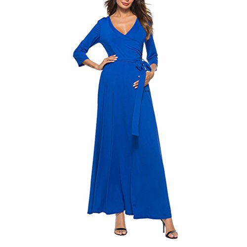 with Stretch 4 Spring Wrap Dresses Women's 3 Blue Neck Zhuhaijq Belt Front Sleeve Summer V Ladies Crossover Dress Skirts Y8OwwqxR