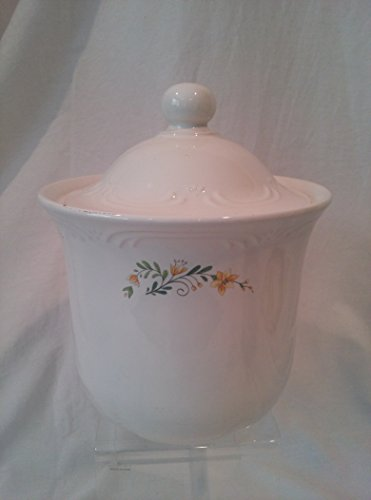 "Pfaltzgraff MEADOW LANE Coffee Canister with Yellow Wildflowers 7-1/2"" d x 9"" tall"