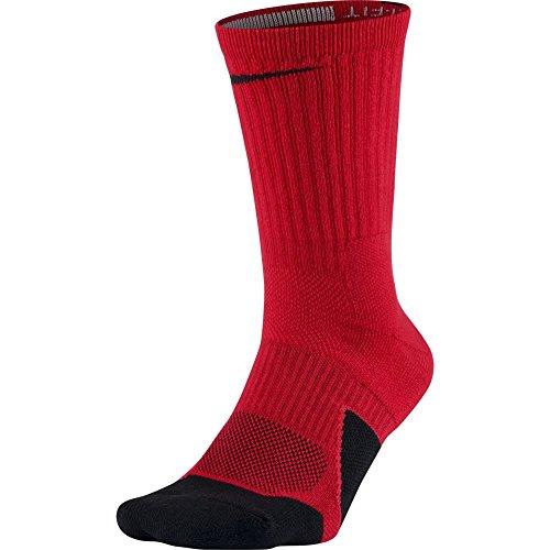 - NIKE Unisex Dry Elite 1.5 Crew Basketball Socks (1 Pair), University Red/Black/Black, Large