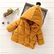 Baby Girl Clothes Winter Jacket Thick Warm Cotton Down Jacket Pure Color Cute Girl Pointy hat Hooded Cotton Ja