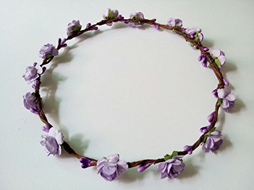 Hippy DIY Handmade Crafts Mini Paper Plum Flower Artificial Berry Crown Headband Hairband Theme Wedding Hair Pieces for Women Hippies Teens Toddler (Purple)