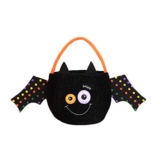Clearance Sale! Baby Halloween Trick or Treat Bags for Kids, Iuhan Reusable Candy Goodie Totes Fluffy Baggies Party Favor Bags Witches Happy Pumpkin Face Halloween Storage Bag Present Gift (A)]()