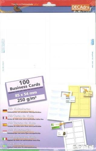 Pochette De 100 Cartes Visite 250 G DECADRY