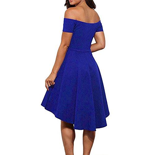 Soire Cocktail de Swing Bleu Robe Haute Femme de Col Courtes paules Robe Gem Retro Manches Bateau SUNNOW Dnudes Vintage Robe Taille wpqaExA