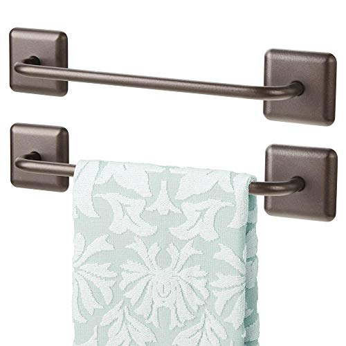 mDesign Metal Bathroom Storage Towel Bar with Strong Self Adhesive - Holder Rack for Hanging Washcloths, Hand, Face Towels in Main or Guest Powder Rooms - 2 Pack - Bronze