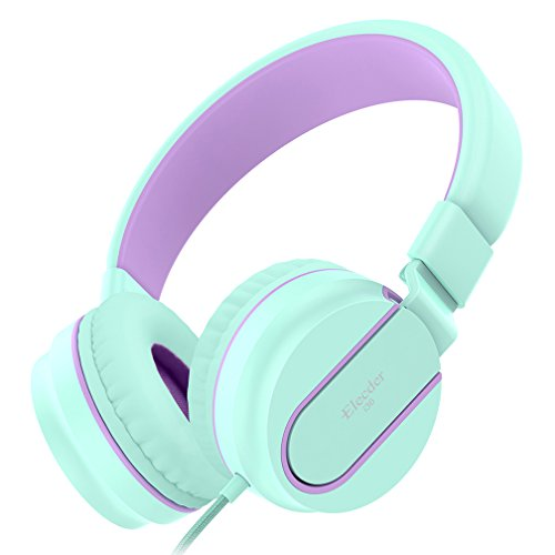 Elecder i36 Kids Headphones for Children, Girls, Boys, Teens, Adults, Foldable Adjustable Over Ear Headsets with 3.5mm Jack for iPad Cellphones Computer MP3/4 Kindle Airplane School (Green/Purple) by ELECDER