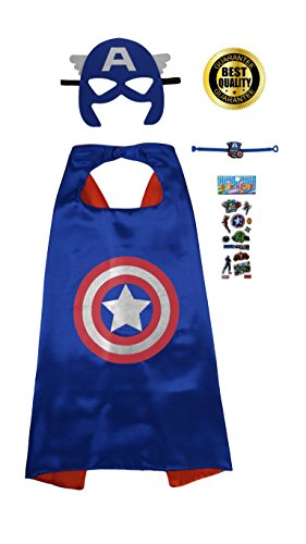 Captain America 4 Piece Set with Cape, Mask, Stickers & Bracelet
