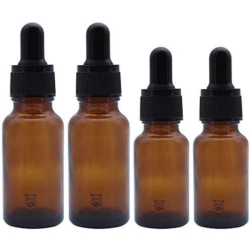 JaneYi (4 Stück) 10ml und 20ml Bernstein Braun Glasflaschen Leere Flaschen für Ätherische Öl Nachfüllbarer Parfümbehälter mit Pipetten aus Glas für DIY Aromatherapie-Mischungen Massageöle Kosmetische