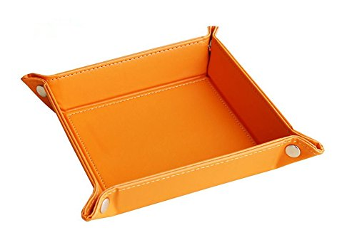 Full PU Leather Jewelry Catchall Key Phone Coin Box Valet Tray,HomeYoo Change Caddy Bedside Storage Organiser (Orange)