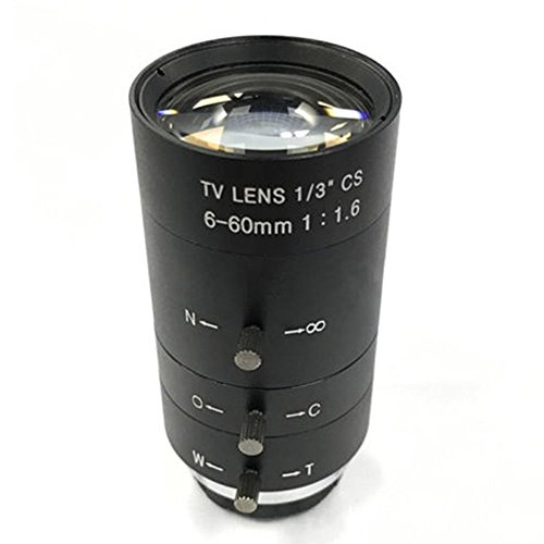 - CCTV Video Lens Manual Zoom 6-60mm CS Mount Lens for Industrial Microscope Black