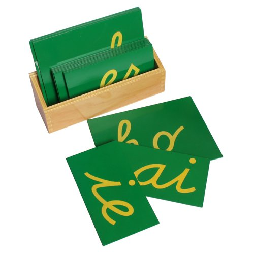 Montessori Sandpaper Double Letters, Cursive with Box