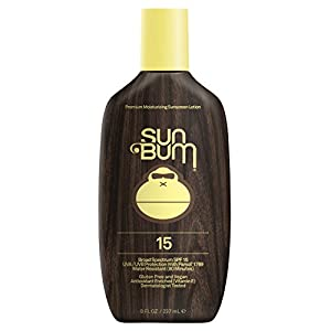 Sun Bum Original Moisturizing Sunscreen Lotion, SPF 15, 8 oz. Bottle, 1 Count, Broad Spectrum UVA/UVB Protection, Hypoallergenic, Paraben Free, Gluten Free, Vegan