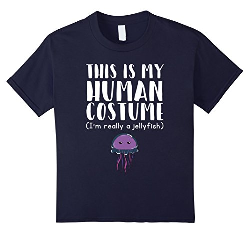 Kids Jellyfish Costume (Kids This Is My Human Costume I'm Really A Jellyfish T-Shirt 6 Navy)