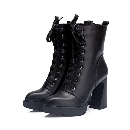 Platform Women's and High Blend Materials Bandage with Boots Allhqfashion Heels Materials Black Blend ZqwZfP