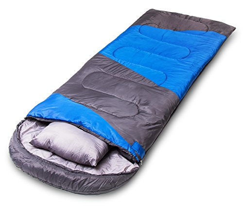 X-CHENG Sleeping Bag - ECO Friendly Materials - Waterproof & Machine Washable - 40℉ Available - Perfect for Camping, Hiking - Color Blocking - Comes with Complimentary Gift(Blue)
