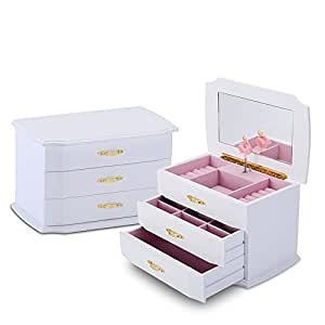 JewelKeeper Girls Wooden Musical Jewelry Box with Pullout Drawers, Classic Design with Ballerina and Mirror, Swan Lake Tune White