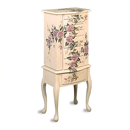 Hand Painted Wood Jewelry - BOWERY HILL Hand Painted Rose Pattern Jewelry Armoire in White