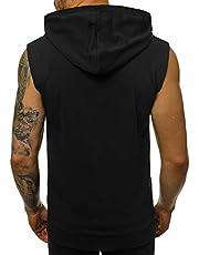 Heren Mouwloos Tops Hoodie Zip Up Workout Shirts Bodybuilding Training Gym Spiervest Tank met zakken