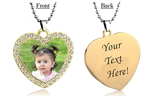 Personalized Heart Custom Photo Color Engraved High Polished Dog Tag Necklace Pendant with 24 inch Stainless Steel Chain with velvet Giftpouch and Keyring (Gold Tone Heart CZ) (Personalized Heart Charm Ring)