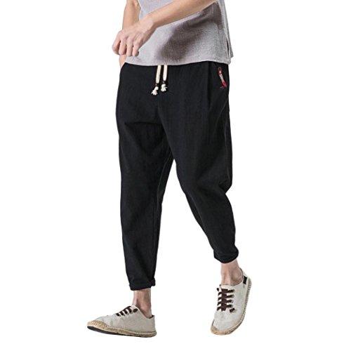 Hmlai Clearance Men's Cotton Linen Harem Pant Drawstring Elastic Waist Casual Baggy Ankle-Length Trouser (M, Black)
