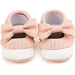 Delebao Infant Toddler Baby Soft Sole Tassel Bowknot Moccasinss Crib Shoes (6-12 Months, Pink & White)