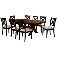 HOMES: Inside + Out IDF-3776T-9PC Cresanka 9 Piece Dark Oak and Black Dining Set